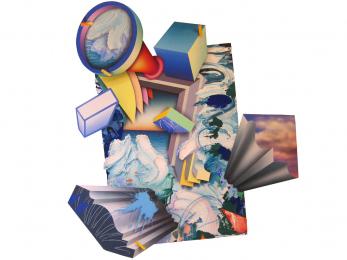 "Maximum Velocity Blues, 76"" x 72, acrylic/wood, 2018"